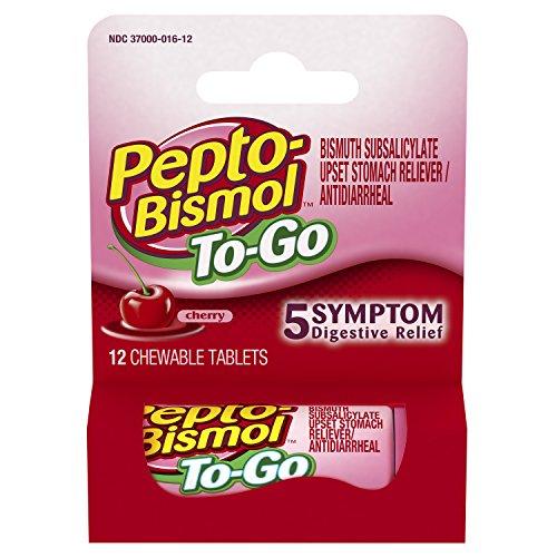 Pepto-Bismol 5 Symptom Relief Including Upset Stomach and Diarrhea Original Chewable Tablets 51V0NhfsAJL