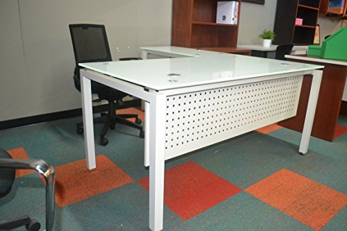 Modesty 1 Glass (Modern Tempered Universal L- Desk 3/4