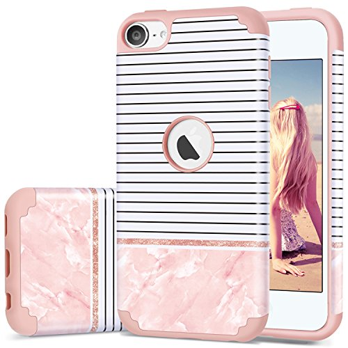 iPod Touch 5 Case,iPod Touch 6 Case Stripes,Fingic Slim 2 in 1 Hybrid Case Stripes Pink Marble Design Hard PC&Soft Silicone Protective Case for Apple iPod touch 5 6th Generation, Stripes/Rose Gold