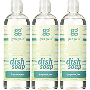Grab Green Natural Dish Soap, Fragrance Free, 16 Ounce (3 Count)