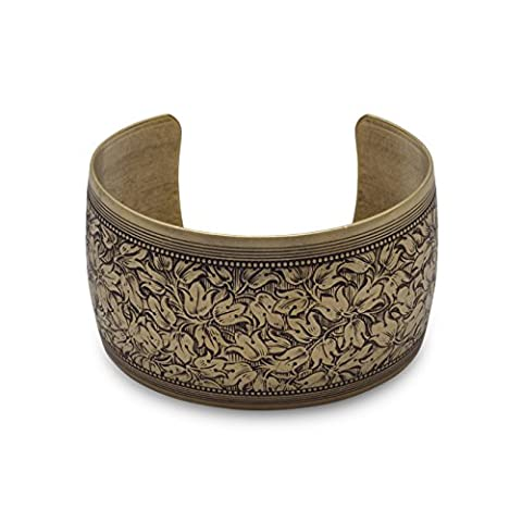 Oxidized Brass Cuff Bracelet, Floral Design, 1-1/2 inch wide, For Wrists up to 7-1/2 inches - Brass Cuff Bracelet
