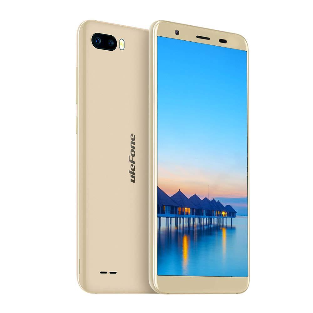 Ulefone S1 Portátil Móvil Libre 3G, Doble Nano SIM, Android 8.1 Go, 5.5 Pulgadas 18: 9, Quad-Core, 1GB+8GB, Identificación Facial, Doble Cámaras Traseras 8MP+5MP, Batería 3000mAh, GPS (Oro)