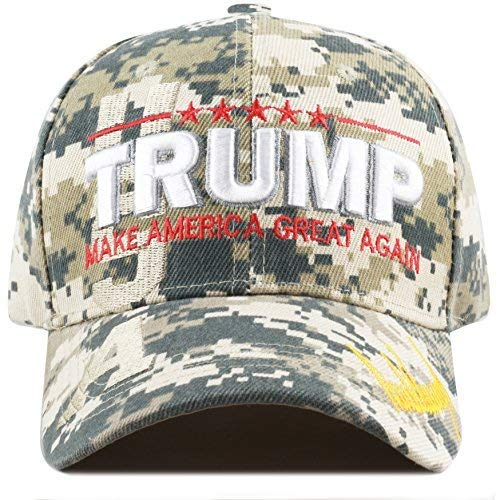 The Hat Depot Exclusive 45th President Make America Great Again 3D Signature Cap (Digital Camo-Flag)