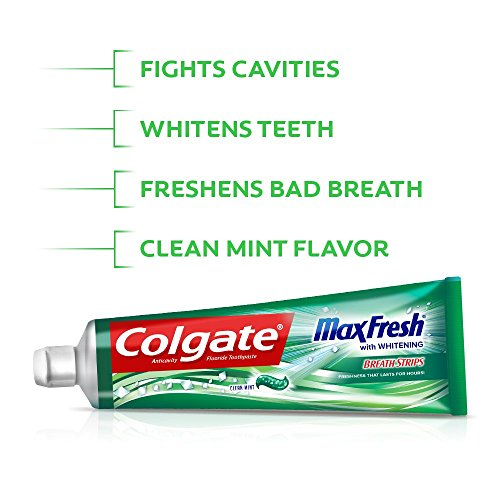 Colgate Max Fresh Whitening Toothpaste with Breath Strips, 6 Oz, Limited Edition, Clean mint, 24 Ounce (Pack of 4)