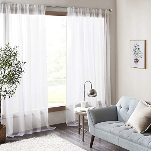 Amari – Tenda per camera da letto, 2 pannelli, classica in voile massiccio, ultra velata, con tasca per bastone, 140 x 245 l, colore: Panna
