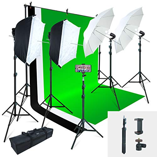 Linco Lincostore Photo Video Studio Light Kit AM169 – Including 3 Color Backdrops (Black/White/Green) Background Screen