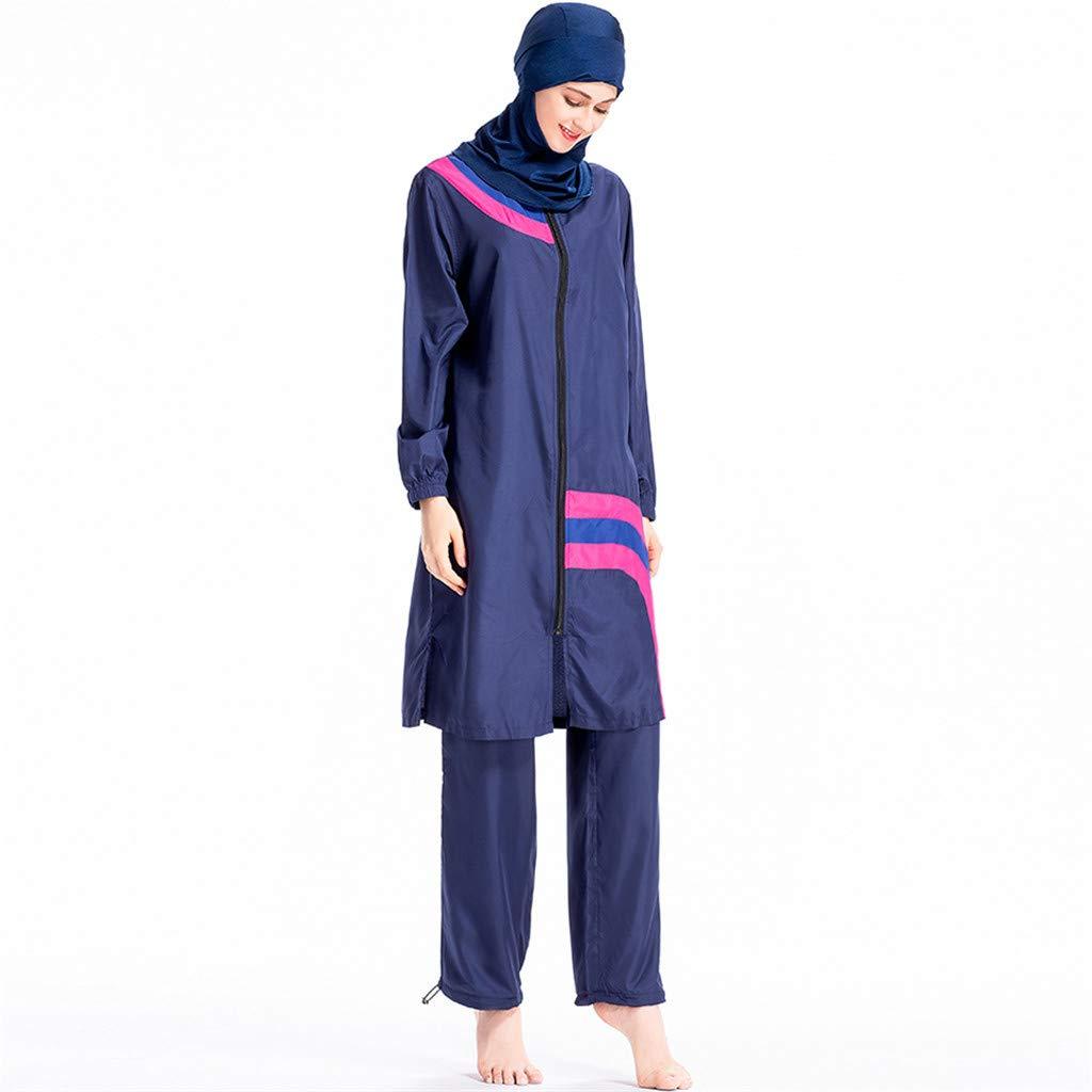 Muslim Swimwear Women Islamic Hijab Modesty Modest Swimsuit Costume 3 Pieces Full Body with Hijab Sun Protection Blue by BingYELH Swimsuit