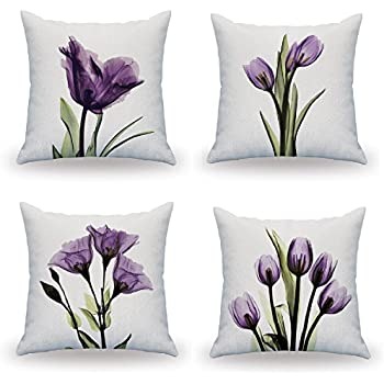LAZAMYASA 4-Pack Pretty Round Super Soft Long Plush Cotton Graphic Pillowcase Home Decoration Both Sides Couch Pillows,18 x 18in,(Set of 4)