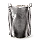 MEÉLIFE 17.8'' Drawstring Waterproof Coating Ramie Cotton Fabric Folding Laundry Hamper Bucket Cylindric Burlap Canvas Laundry Basket(Brown Lattice)