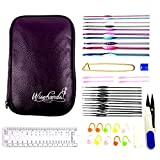 Wisehands 22 Pcs Knitting Needles Crochet Hooks Set with a Purple Storage Case