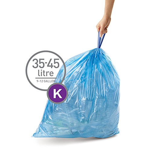 simplehuman Code K Custom Fit Recycling Liners, Tall Kitchen Drawstring Trash Bags, 35-45 Liter / 9-12 Gallon, (case of 600 liners), Blue