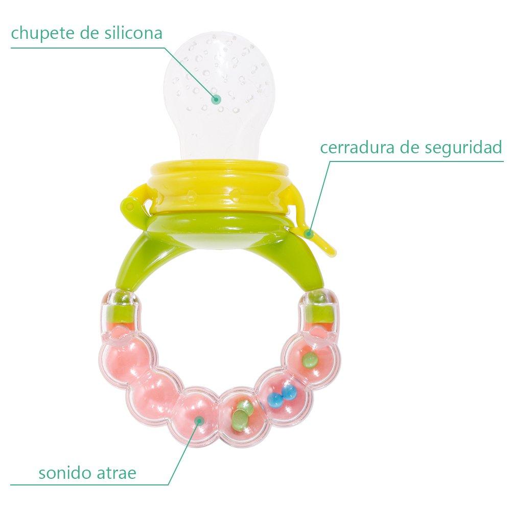 Chupete de Bebé Alimentador Conjunto Nabance 2PCS Bebé Alimentador 3PCS Tetina Extra de Silicona con 3PCS Chupete Clips, Nibbler Alimentador ...