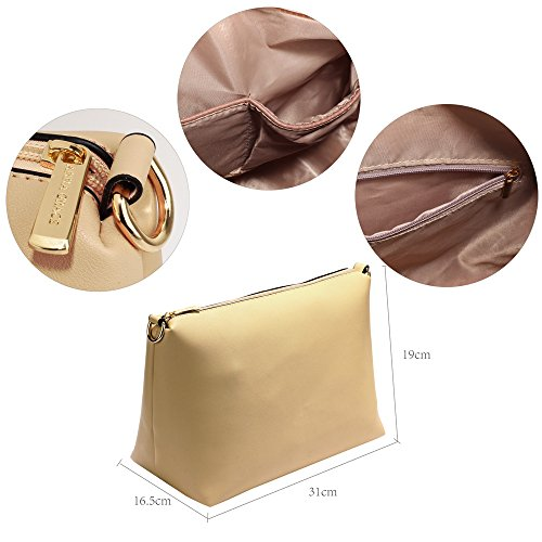 De Beige Color Mujer De Del Diseñador Hombro Señoras Para Establecer Nuevo Cuero Bolso Del Comprador Del Del Grande El Bolso Bolso 4RxFHUqw