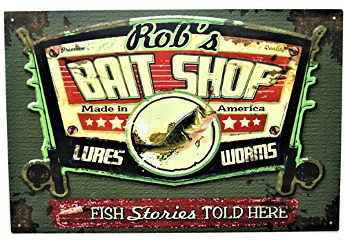 (Tin Shop Signs | Vintage Tin Bait Shop Sign | Personalized for Your Specific Needs | Rectangle 12X18)