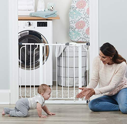 51V0PUO0XBL Regalo Easy Step 38.5-Inch Extra Wide Walk Thru Baby Gate, White Original version    Your baby has started to walk, it's time to child proof your house. The Easy Step gate hits all the criteria with an all-steel construction, installs quickly by either pressure mount or wall mount and is adjustable to accommodate door openings between 29-34 inches or 35-38.5 inches wide. Space between the bars are 2.5 inches. The gate door is 16 inches wide. Please Read The gate WILL appear BENT before installation There WILL be a GAP at the handle before installation Both of these concerns will be eliminated once the gate is properly installed in your doorway Please measure your opening prior to purchase to ensure proper fit Gate frame design to be assembled at all times Regalo Easy Step Baby Gate Features Fits openings between 29-34 and 35-38.5 inches wide and stands 30 inches tall Easy to use lever handle features a one-touch release safety lock Convenient walk through design Easy pressure mount set up Made for children 6-24 months Can be used for medium to large dogs What's Included in The Box One Regalo Easy Step Baby Gate Instruction Manual One 6-inch extension kit Four pressure mounted spindle rods Four wall cups with screws
