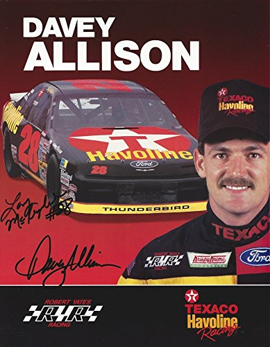 2X AUTOGRAPHED 1991 Davey Allison & Larry McReynolds #28 Texaco Havoline Racing (Robert Yates Team) Vintage 9X11 Signed Collectible Picture NASCAR Hero Card Photo with COA