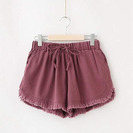 DKXLW Pantalones Cortos De Mujer,Púrpura Algodón Deshilachados ...