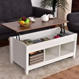 Premium Quality Low Coffee Table With Hidden Lift Top and Lower Storage Compartment For Contemporary Home And Living Room (1, White)
