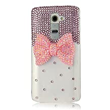 Evtech(tm) Pink Bowknot Bling Bling Bead Ruby Diamond Rhinestone Crystal Glitter Fashion Style Clear Lucency Transparency Back Cover Cell Phone Case Present Gift Lover for LG G3 D855 D850 D851(100% Handcrafted)
