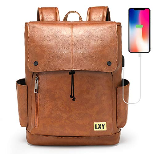 LXY Backpack Purse for Women Men, 15.6 Inches Laptop Bookbag with USB Charging Port, Vintage Daypack with Drawstring Closure, Brown