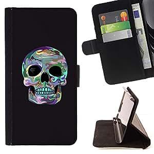Momo Phone Case / Flip Funda de Cuero Case Cover - Cráneo Surf gris fresco de la Muerte cuenca del ojo - Sony Xperia M4 Aqua