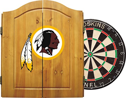 Team Logo Dart - Imperial Officially Licensed NFL Merchandise: Dart Cabinet Set with Steel Tip Bristle Dartboard and Darts, Washington Redskins
