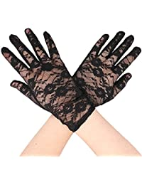 Simplicity Cute and Fancy Lace Gloves, Short/Wrist Glove Style, Black
