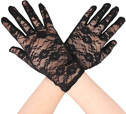 Simplicity Stretch Gloves Sheer Lace, Wrist Length Special Occasion Wear, Black -