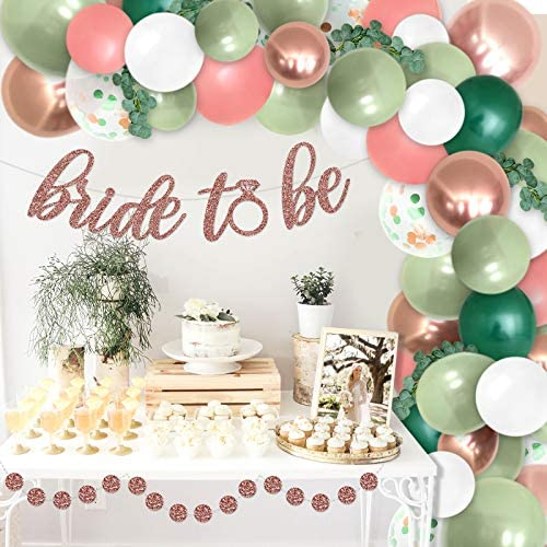 Bridal Shower Sage Green Balloons Garland Decoration Bride To Be Banner Kits Bachelorette Party Greenery Backdrop Balloons Arch Photo Props Dark Green Rose Gold White Wedding Favor Ideas