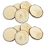 20 PCS 4-6cm Natural Wooden Slices Circle Pendant Connectors Ornaments for DIY Projects Jewelry Christmas Craft Making