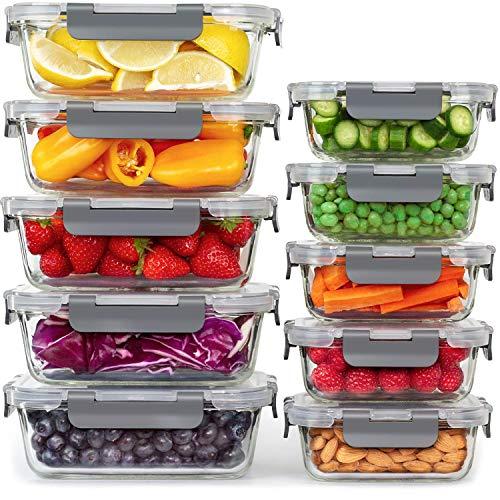 🥇 Tupper de Cristal – Almacenamiento de Cocina y Despensa – [10 Unida-des] Recipientes de Cristal con Tapas – Almacenaje de Cocina – No Go-tea y sin BPA