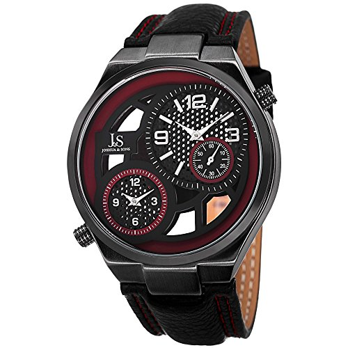 Joshua & Sons Men's JS83RD Swiss Quartz Dual Time Red Accent Black Leather Strap Watch
