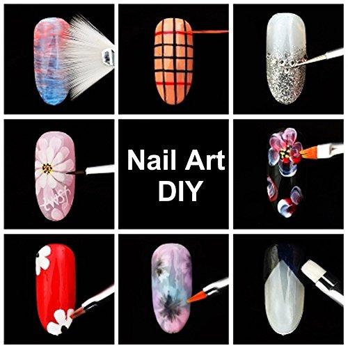 JOYJULY Nail Art Kit contains 30 Striping tape & 4Pcs Striping Roller Box & 12 Colors Rhinestones & 5pcs Dotting Pen & 15pcs Brush Set 7