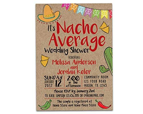 db42741959f Amazon.com  Nacho Average Bridal Shower Invitations Kraft Fiesta Wedding Shower  Invite  Handmade