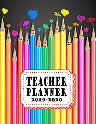 Teacher Planner: Vertical Academic Year Lesson Plan Calendar 8 Period Full Year Happy Colored Pencils (Lesson Plan Books For Teachers 2019-2020)