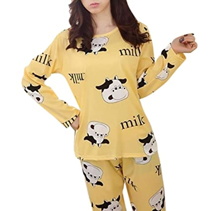 d443689e27 RingBuu Women Pajamas Set - Cartoon Dairy Cattle Printed Long Sleeve  Pajamas Set Round Neck Top