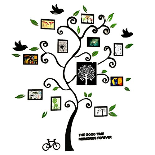 Alicemall Tree Wall Stickers Family Hope Tree of Life Black 3D Wall Decals Photo Frame Acrylic Decorative Wall Sticker Wall Art, 57 x 69 inch (Black) by Alicemall (Image #2)