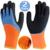 Cold Weather Work Gloves 2 Pairs, Double Coating Fleece Thermal Winter Gloves, Excellent Grip Water Resistant Long Cuff Warm Safety Gloves, Tough Durable Gloves for Men Outdoor Heavy Duty Multipurpose