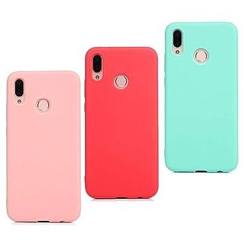 CoqueCase 3X Funda Huawei P Smart 2019 Silicona Suave Flexible Antigolpes Ultrafina Goma Case Ultra Delgado Caso Color Cubierta Protector Bumper Case ...