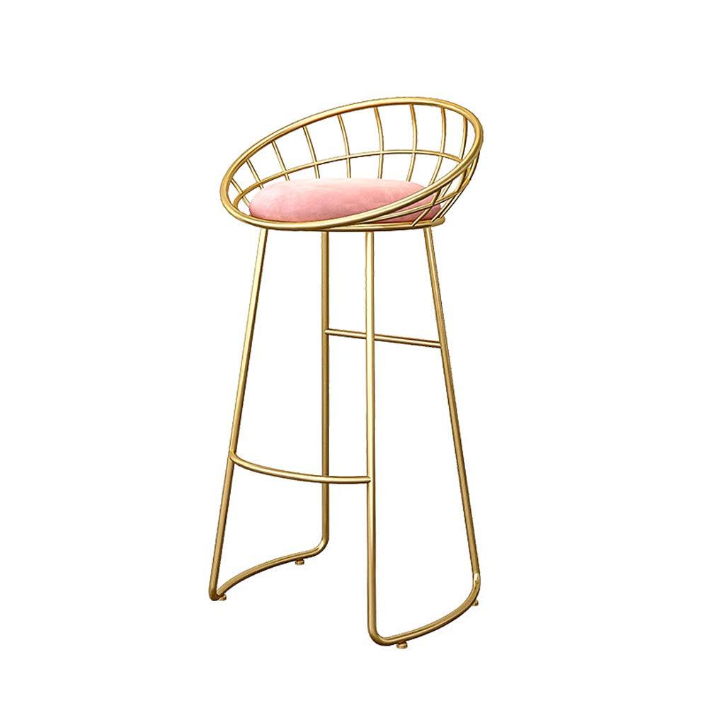 Sitting height 65cm Fashion Wrought Iron Bracket Bar Stool Kitchen Breakfast Stool Chair gold Leg Pink Sponge Pad Design (Sitting Height  45 65   75cm)