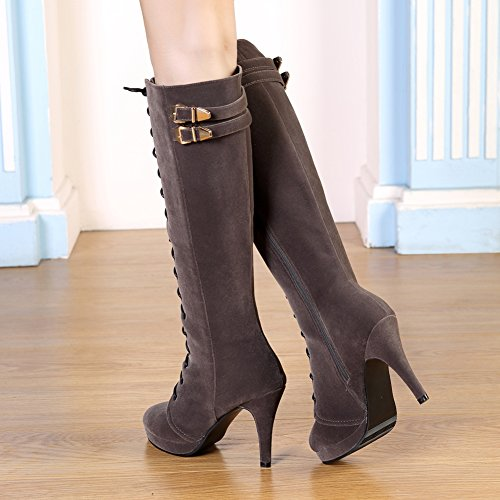 Suede High Gray Up Boots Knee getmorebeauty Dark Boots Womens Heel Rock Lace Zipped Buckle High 6RFF5q8wx