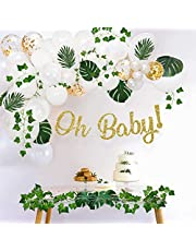 Sweet Baby Company Greenery Boho Baby Shower Decorations Neutral with Balloon Garland Arch Kit, Oh Baby Banner, Ivy Leaf Garland Vines Decoration, Greenery Decor for Jungle, Safari, Woodland Backdrop Theme