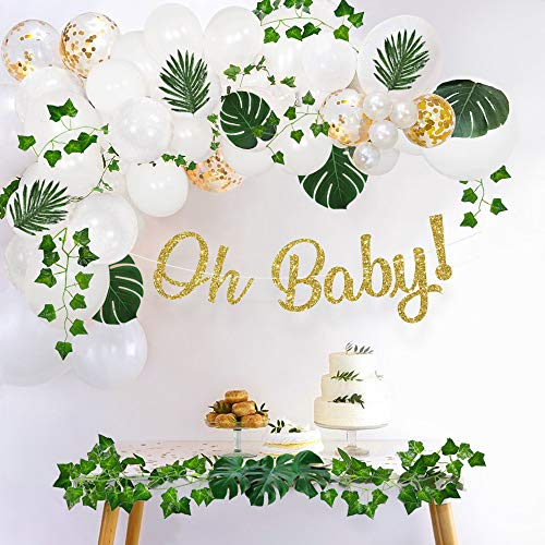 Sweet Baby Co. Greenery Boho Baby Shower Decorations Neutral with Balloon Garland, Oh Baby Banner, Ivy Leaf Garland Vines Decoration | Fake Greenery Decor for Jungle, Safari, Woodland Backdrop Theme