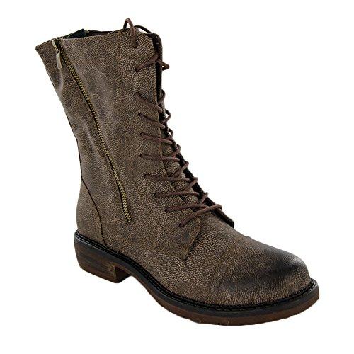 Kurketten Schoeisel Dames Cassie Verontrust Bruin Dubbele Rits Combat Boots Maat 9