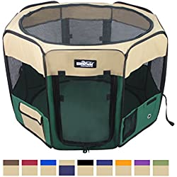 "EliteField 2-Door Soft Pet Playpen, Exercise Pen, Multiple Sizes and Colors Available for Dogs, Cats and Other Pets (42"" x 42"" x 24""H, Beige+Green)"
