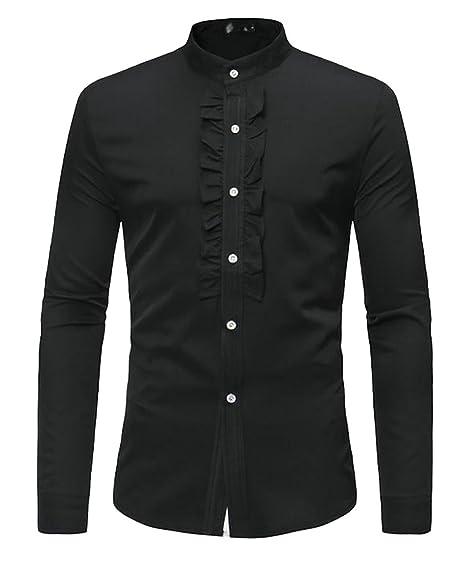 fa3b6baff Pandapang Mens Long Sleeve No-Iron Slim Solid Button Down Dress Shirts Black  S