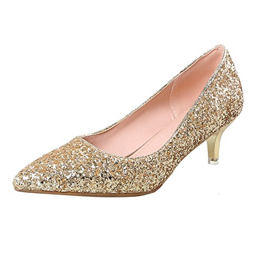 YE Damen Kitten Heels Spitze Glitzer Pumps mit Pailetten Hochzeit Party Schuhe Gold
