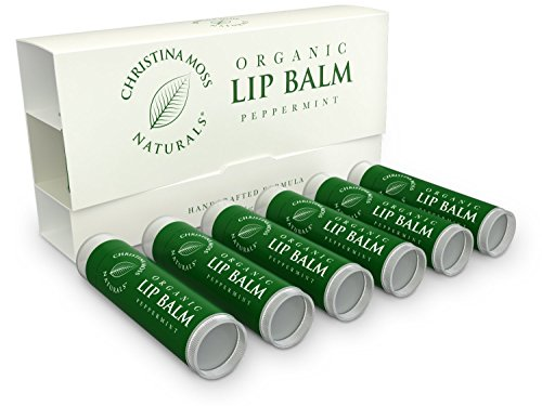 (Lip Balm - Lip Care Therapy - Lip Butter - Made with Organic & Natural Ingredients - Repair & Condition Dry, Chapped, Cracked Lips - 6 Pack, Peppermint - Christina Moss Naturals)
