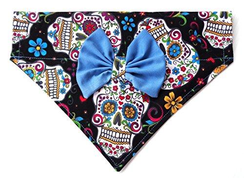 2 in 1 Blue Bow and Bandanna Sugar Skull Day of the Dead Calavera Cinco de Mayo Print, Over the Collar Slip Thru Thread Through Style Neckwear Petwear by puranco inc