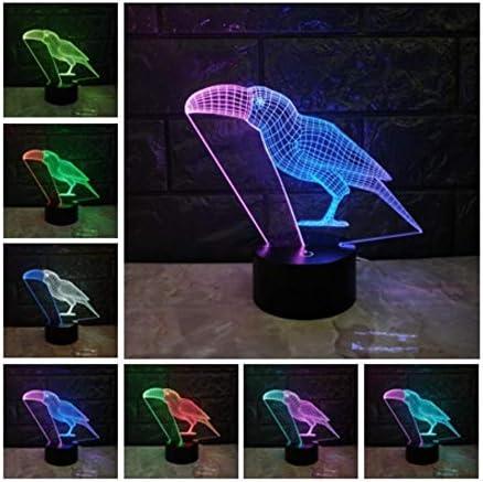 MRQXDP Neuheit 3D Lampe Touch Mischfarben Nachtlicht Tier Tukan LED Beleuchtung Verfärbung Stimmung Illusion Home Dekorative Kinderlampen dimmable